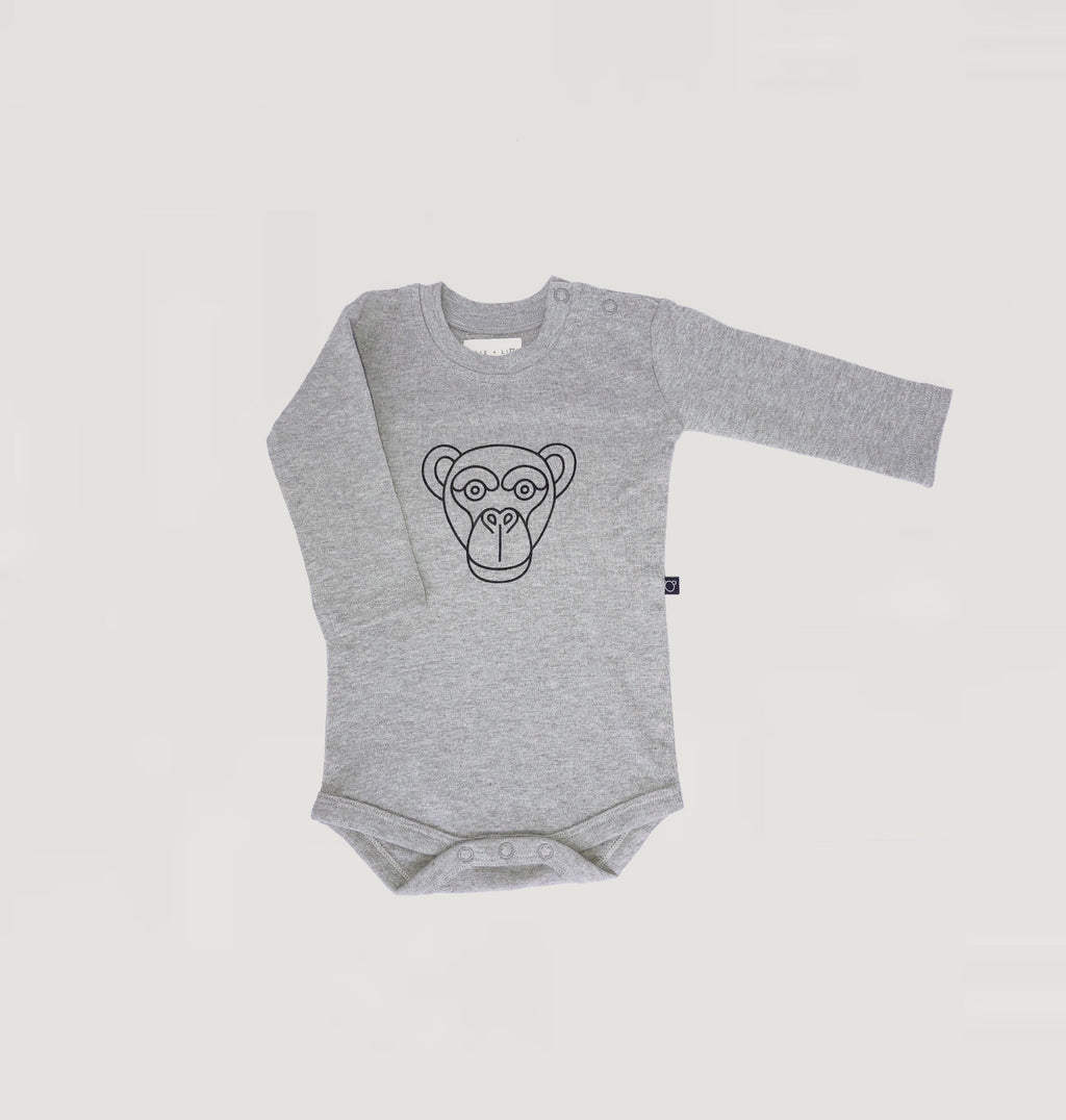 Monkey print bodysuit - grey