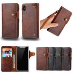 Genuine Leather Wallet Stand Protect Flip Case for Samsung