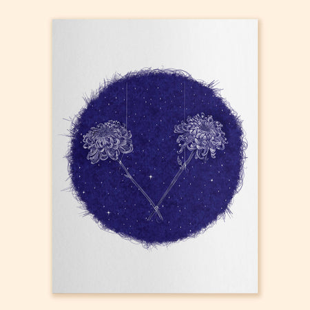 Twin Chrysanthemums Art Print