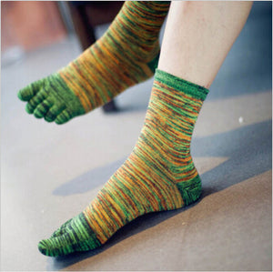 Retro Color Five Toe Socks