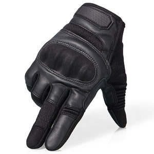 Touchscreen PU Leather Motorcycle Hard Knuckle Full Finger Gloves