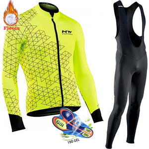 Winter Thermal Fleece Cycling Clothes Men's Jersey Suit