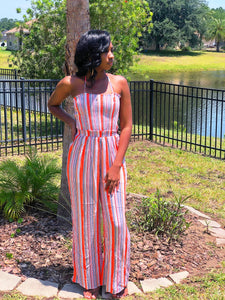 Coral Striped Jumpsuit