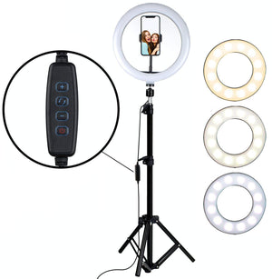 "10"" LED Ring Light Photographic Selfie Ring Lighting Dimmable Video light for Youtube Makeup Selfie with stand Phone Holder"