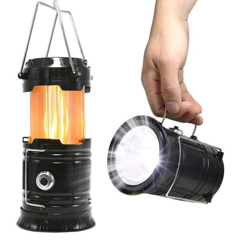 3-in-1 Solar Power LED Camping Lantern 2 Lighting Source powerful Portable Outdoor Tent Light Lamp Flame Lantern Flashlights