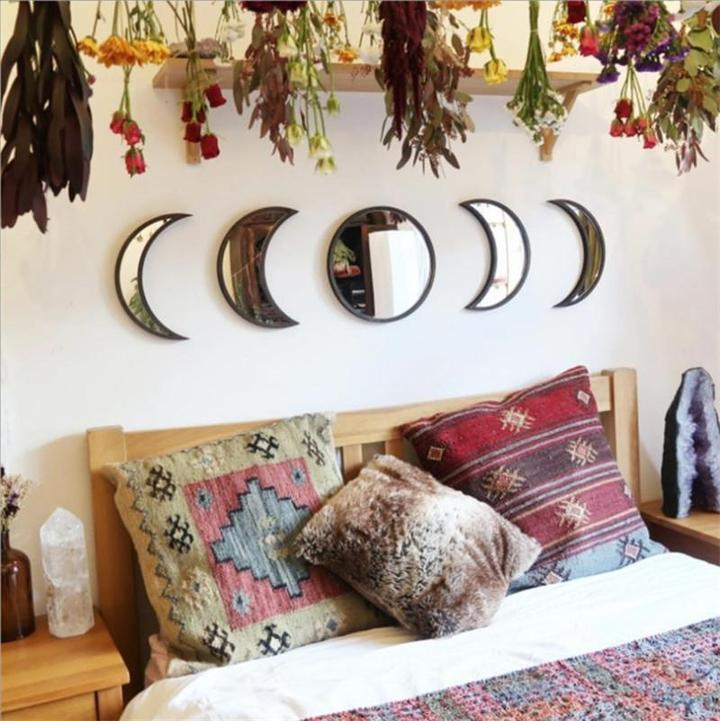 Five-piece Moon Phase Wood Mirror