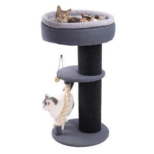 US Pet Cat Toy Scratching Post Wood Climbing Tree With Ball