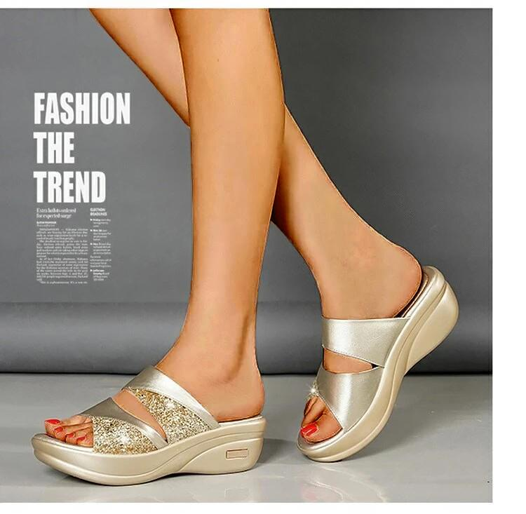 Women Platform Wedge Open Toe Casual Shoe