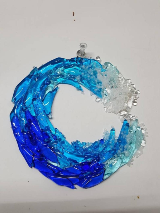 Fused Glass Ocean Suncatcher Ornament Glass Wave Sun Catcher