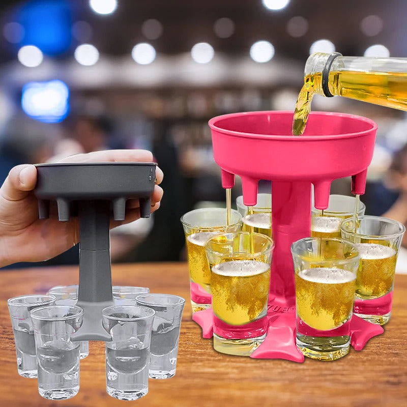 6 Shot Dispenser and Holder/Carrier Caddy Liquor Dispenser Party Gifts Drinking Games Shot Glasses Get The Party Started Faster!