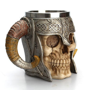 STAINLESS STEEL HORNS & SKULL & HELMET MUG