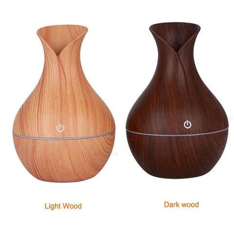 Mini Vase Ultrasonic Wood Grain Aroma Diffuser