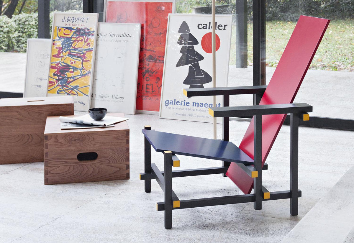 635 Red and Blue lounge chair, 1918, Gerrit t rietveld, Cassina