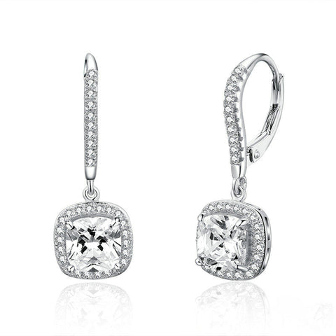 Dazzling Cubic Zircon Square Geometric Drop Earrings