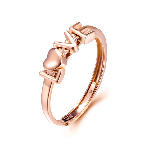 18K Gold Fashion European And American Explosions Ring Love Hollow Couple Ring