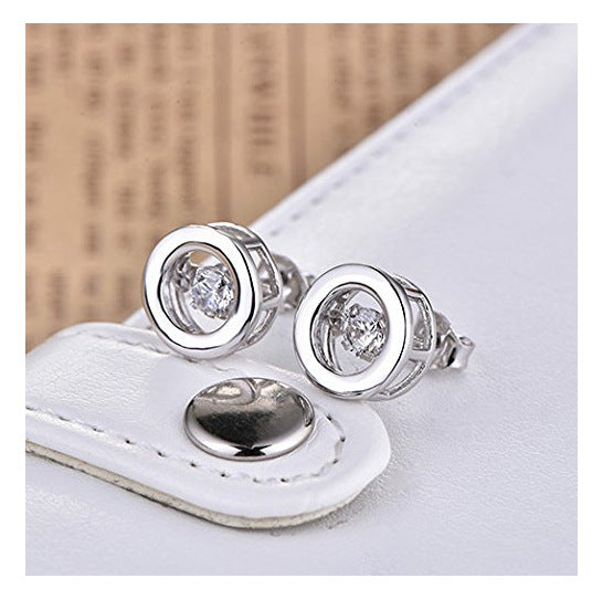 Japanese And Korean Version Of S925 Sterling Silver Round Creative Micro-Set Earrings Women Fashion Temperament Jewelry