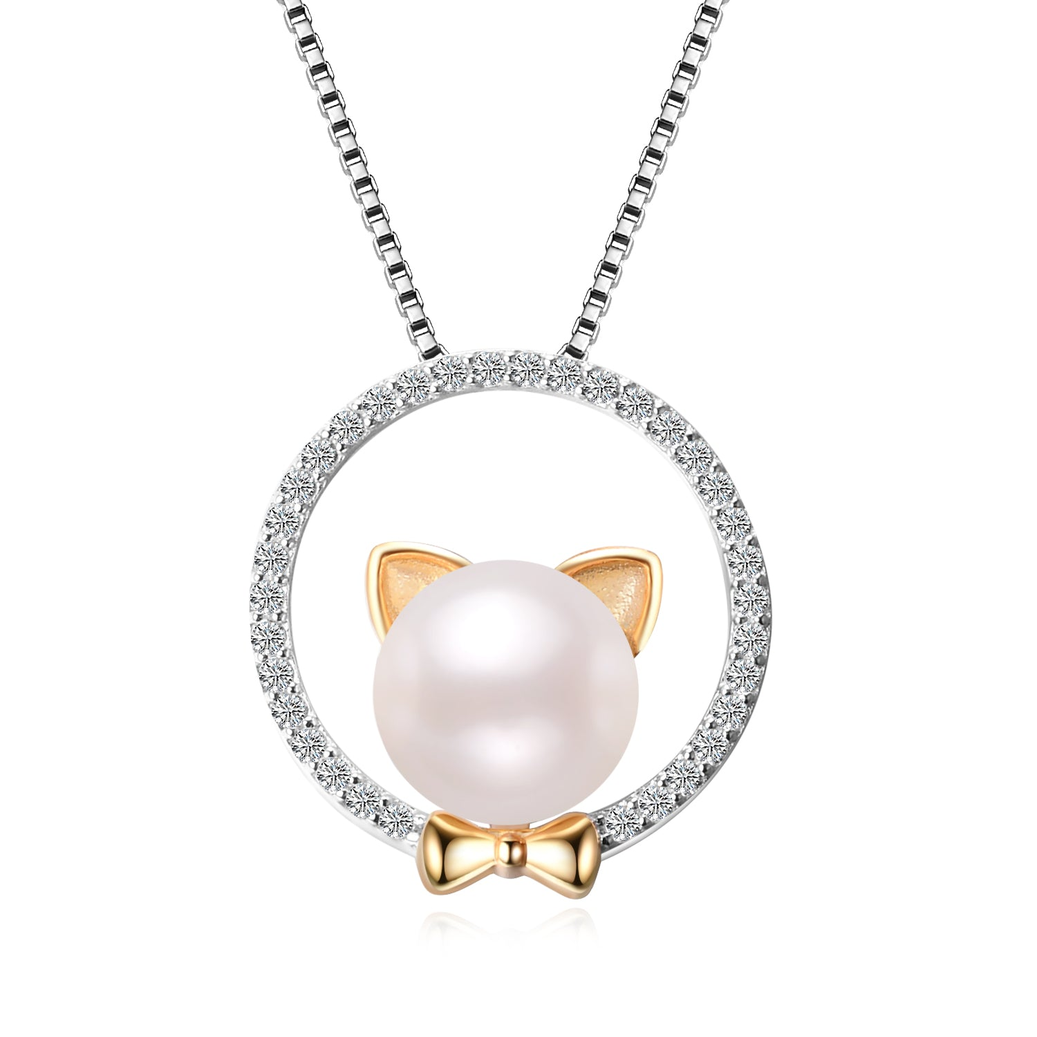Wholesale Fashion 925 Sterling Silver Jewelry Necklace Pearl Cat Necklace