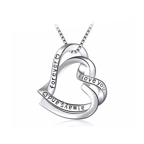 S925 Sterling Silver Fashion Personality Wild I Love You Winding Pendant Necklace Female