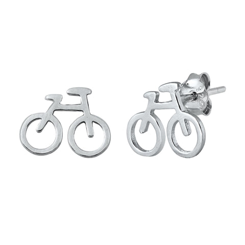 Silver Bicycle Stud Earrings