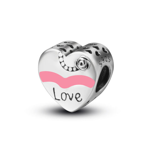 Love heart-shaped pink beads charm bracelet beads jewelry accessories