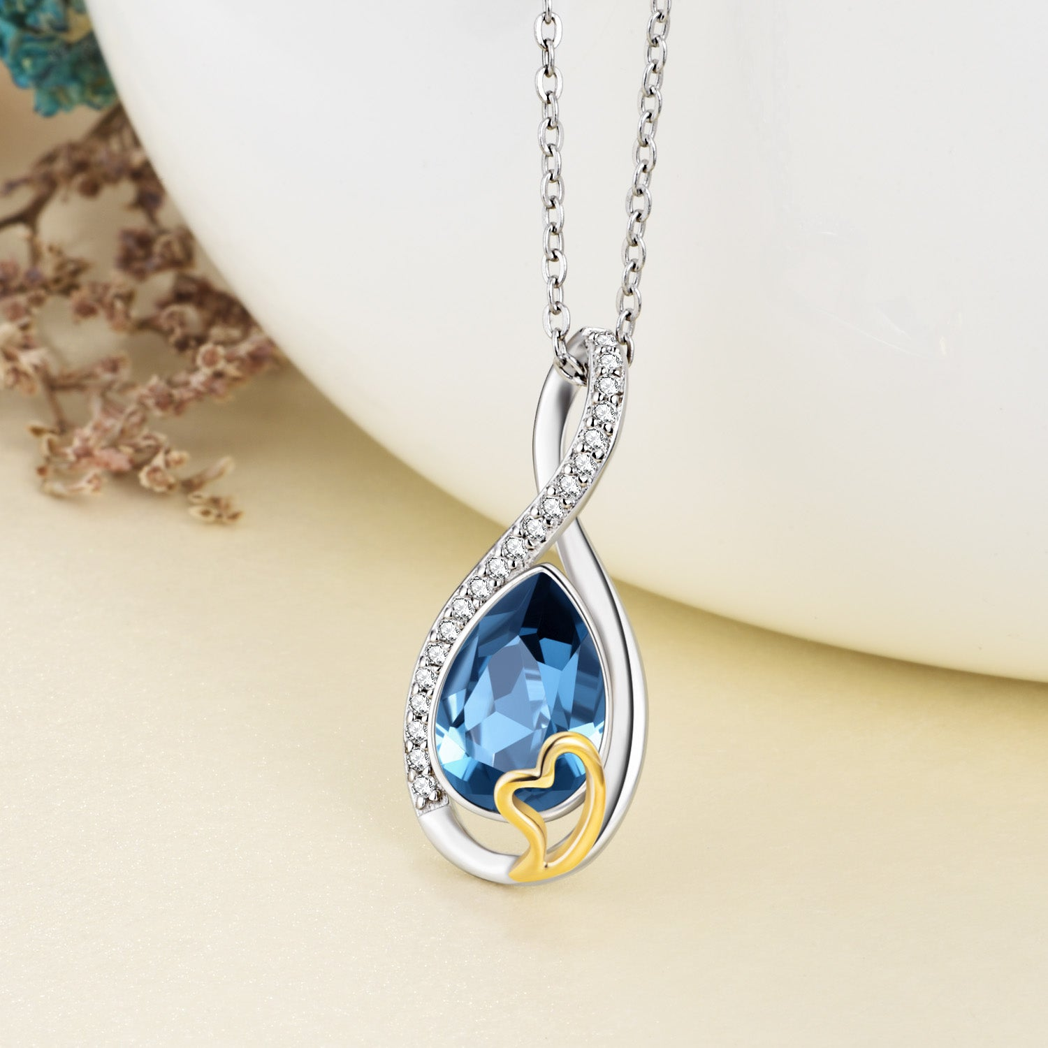 Crystal Infinity Necklace Water Drop Shaped Blue Gemstone Silver Necklaec