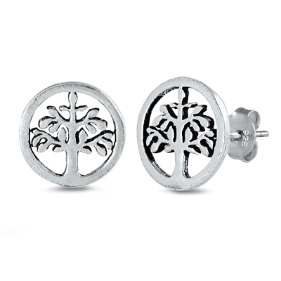 Silver Tree of Life Stud Earrings