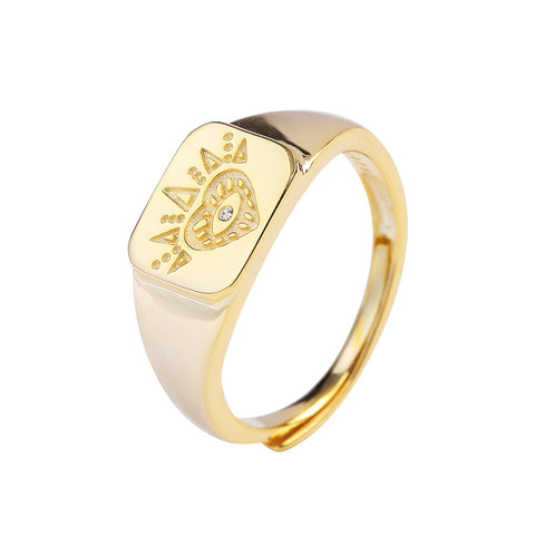 925 Sterling Silver Ring Retro Gold Coin Ring European And American Trend Heart-Shaped Crystal