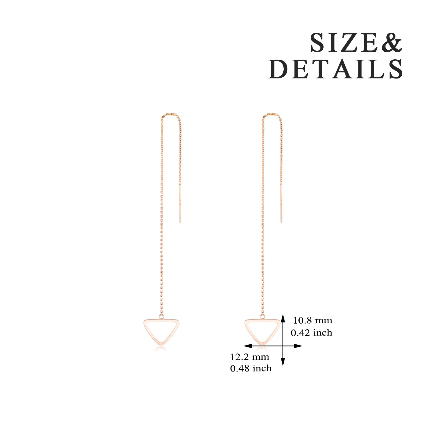 18K Gold Korean Version Of The Personality Creative Triangle Dangle Drop Ear Line Female Earring