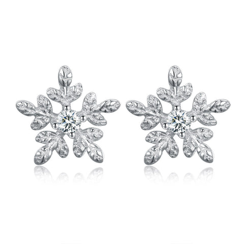 Snowflake Stud Earrings Fashion Jewelry Women's Temperament 925 Sterling Silver Hypoallergenic Earrings Accessories