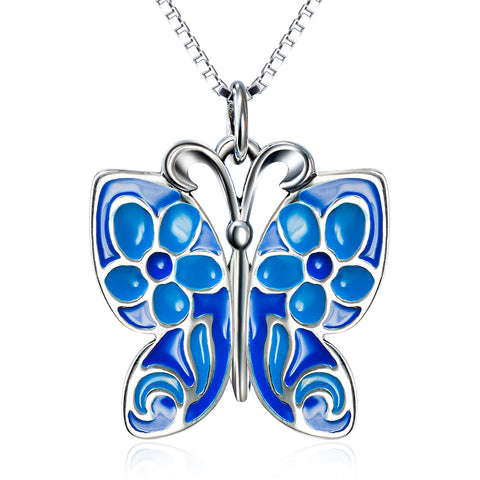 Animal Butterfly Shaped Necklace Wholesale 925 Sterling Silver Necklace For Girls