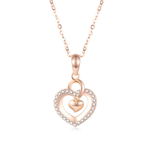 18K Gold Fashion Korean Version Of The Clavicle Personality Couple Simple Love Heart Pendant Necklace