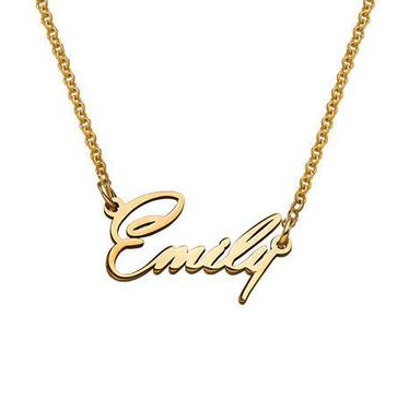 "Emily Style-925 Sterling Silver Personalized Name Necklace Adjustable 16""-20"""