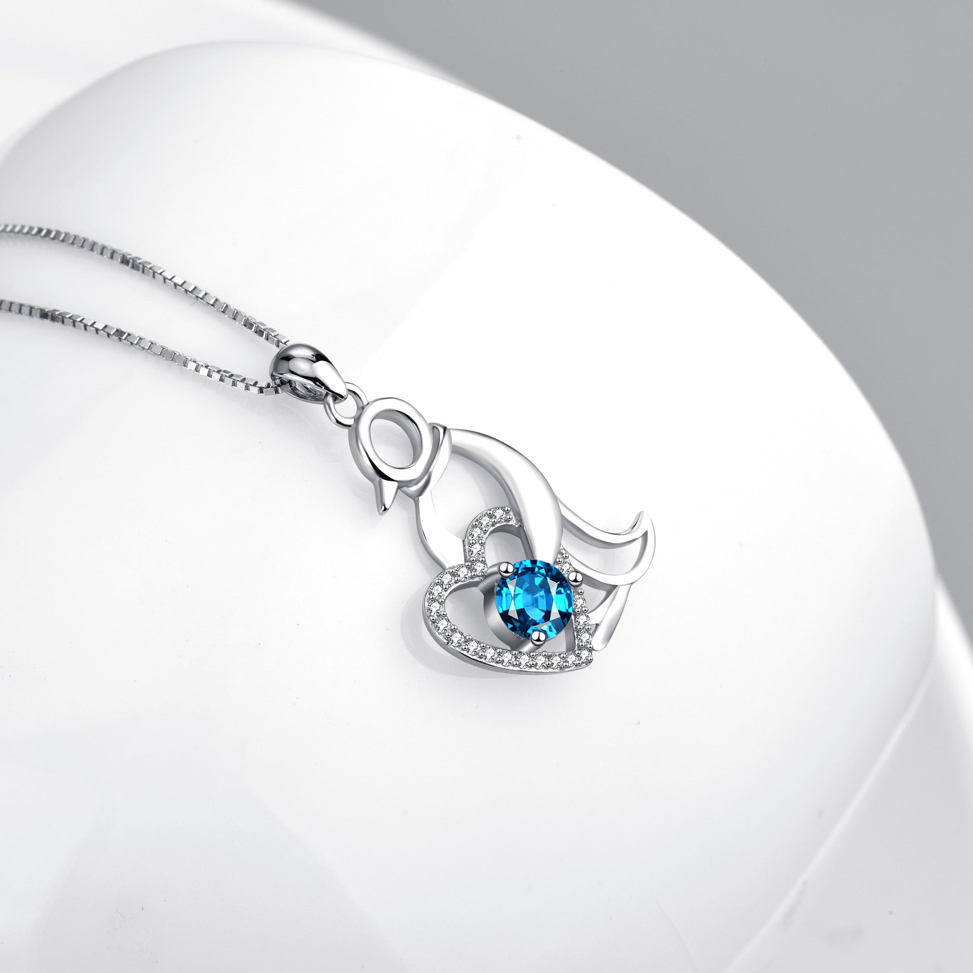S925 Engraved Family Necklace Love Heart Penguin Crystal Pendant Necklace