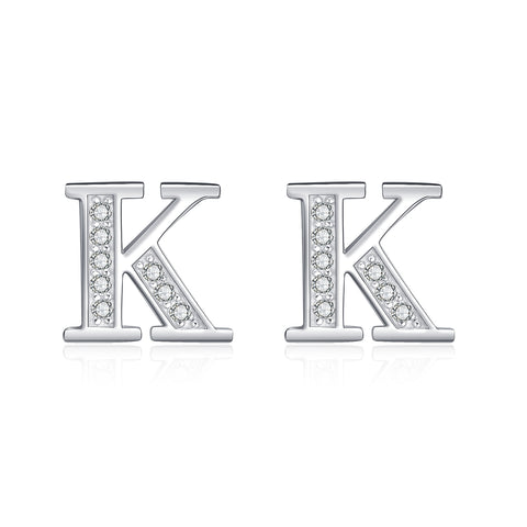 Letter K Stud Earrings 925 Sterling Silver Fashion Earrings