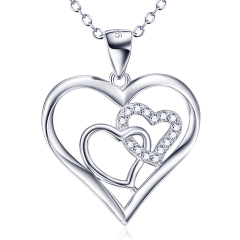 Three Hearts Shaped Necklace Factory 925 Sterling Silver Cubic Zirconia Necklace For Woman