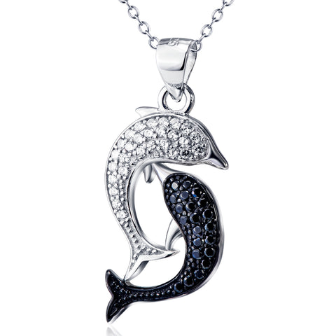 Double Fish Shaped Necklace Wholesale 925 Sterling Silver Necklace