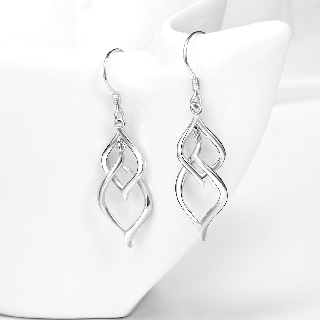 Classic Double Linear Loops Design Twist Wave Earrings 925 Sterling Silver