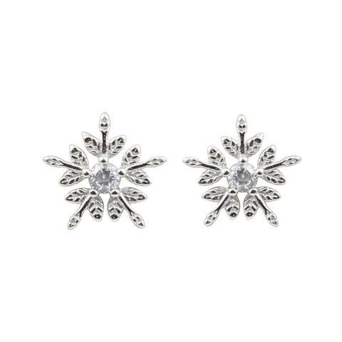 925 Sterling Silver Snow Earrings Sweet And Delicate Micro-Encrusted Snowflake