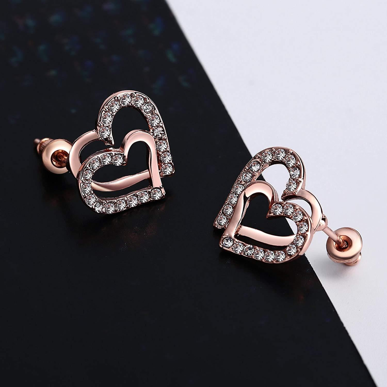 S925 Sterling Silver Korean Version Of The Simple Personality Double Love Earrings Jewelry Cross-Border Exclusive