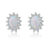 New Arrival Girls Simple 925 Silver Opal Stone Stud Earring Wholesale