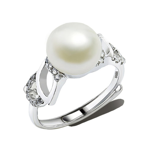 Withe Pearl Ring for Women Fashion Jewelry Wholesale Price Clear CZ
