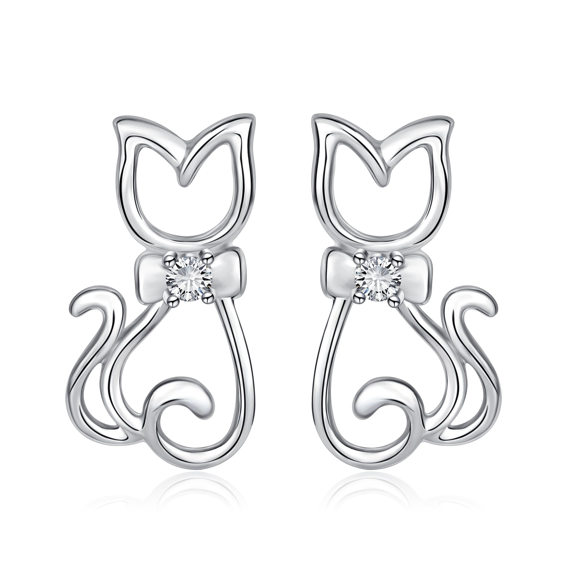 Cat design earrings sterling silver earrings 925 with CZ from factory