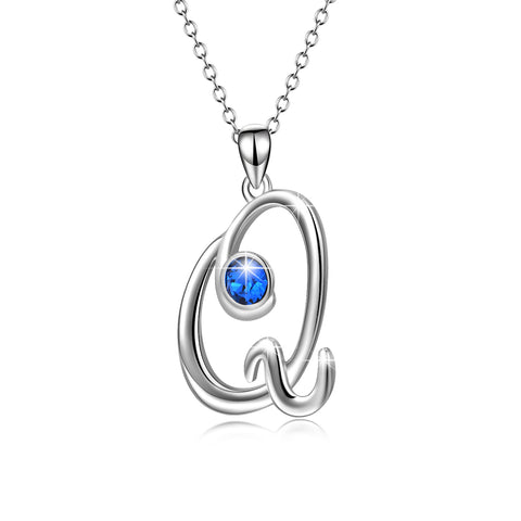 Custom Jewelry Engraved Letter Q Necklace for valentine's day Gift