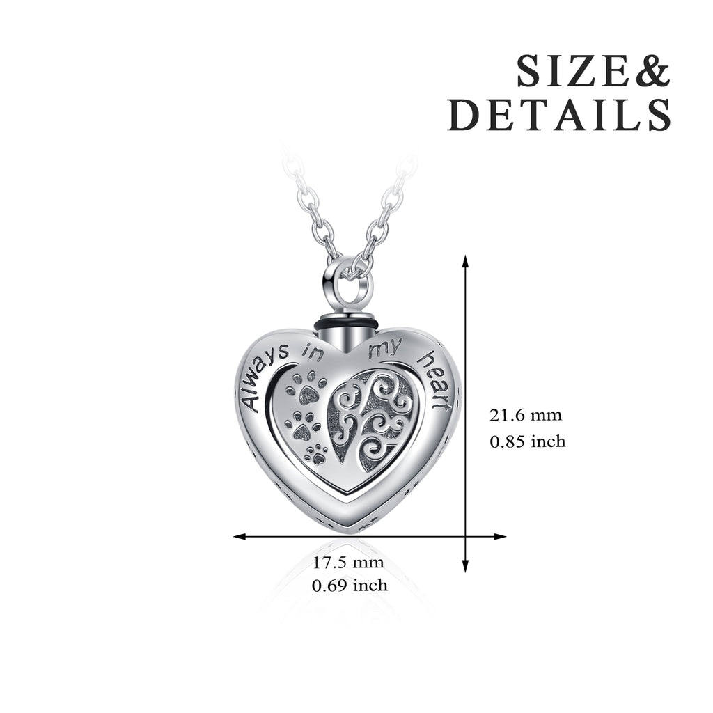 Heart-shaped Companion's Pet Necklace 925 Sterling Silver Necklace