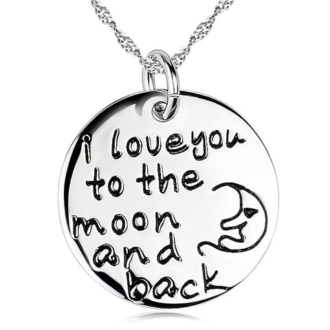 Disc Engraved Necklace Jewelry 925 Silver Round Moon Carving Necklace