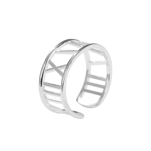 925 Sterling Silver Ring Roman Numeral Ring European And American Style Trend Opening Adjustable
