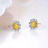 Daisy Earrings Sunflower Plant Two-color Plating Silver Earrings Wholesale