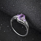 925 Sterling Silver Natural Amethyst and Cubic Zircon Rings With Rhodium Plating