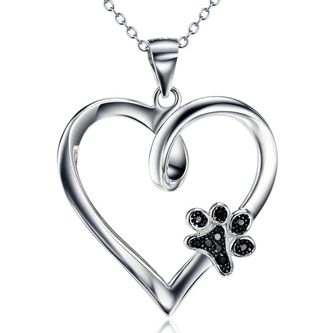 cubic zirconia heart dog paw print necklace gemstone necklace