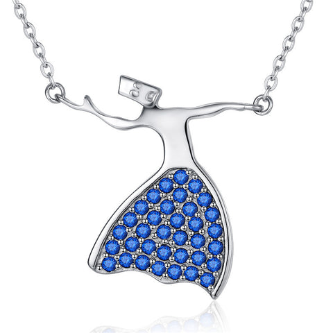 Dancing Girl cubic Zircon blue birthstone  Necklace Pendant S925 Sterling Silver for Valentine's Day Gift
